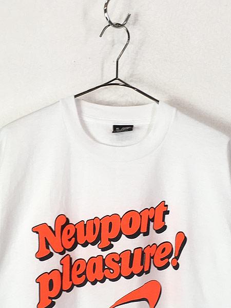 [2] 古着 90s USA製 Newport 蛍光 ロゴ プリント Tシャツ XL カルチャー 古着