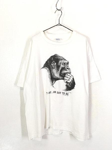 [1] 古着 90s USA製 Human-i-Tees ゴリラ モノクロ アート Tシャツ XXL 古着