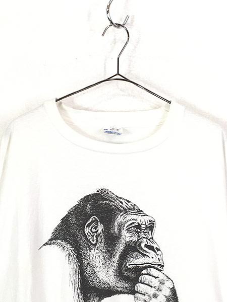 [2] 古着 90s USA製 Human-i-Tees ゴリラ モノクロ アート Tシャツ XXL 古着