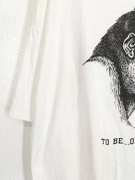 [4] 古着 90s USA製 Human-i-Tees ゴリラ モノクロ アート Tシャツ XXL 古着