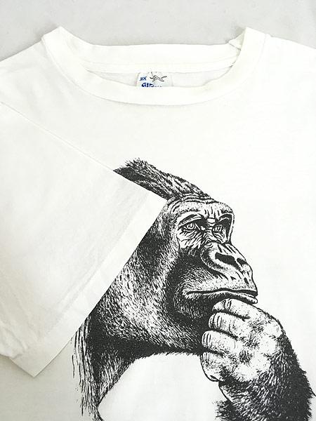 [6] 古着 90s USA製 Human-i-Tees ゴリラ モノクロ アート Tシャツ XXL 古着