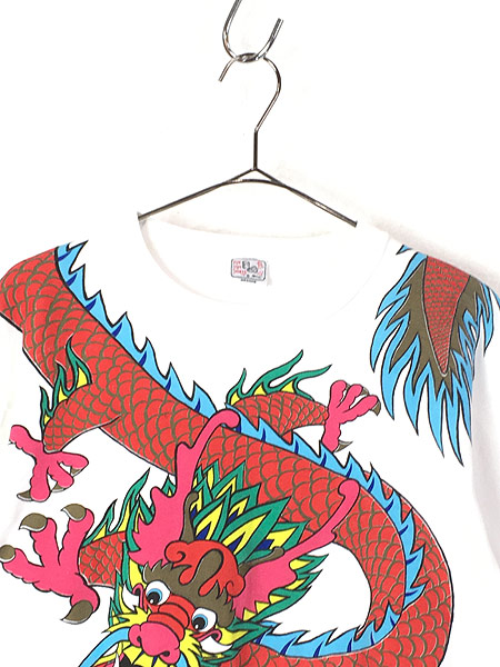 [2] 古着 80s 龍 ドラゴン BIG デザイン オールド アート Tシャツ M 古着