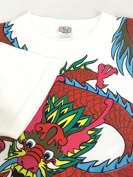 [4] 古着 80s 龍 ドラゴン BIG デザイン オールド アート Tシャツ M 古着