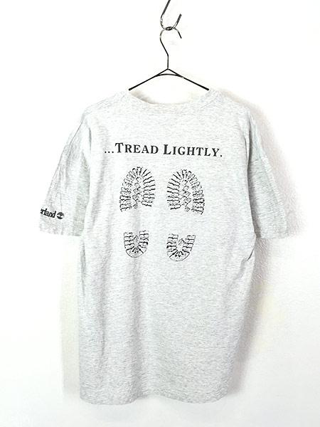 [3] 古着 90s Timberland ブーツ 足跡 フォト メッセージ Tシャツ XL位 ブランド 古着