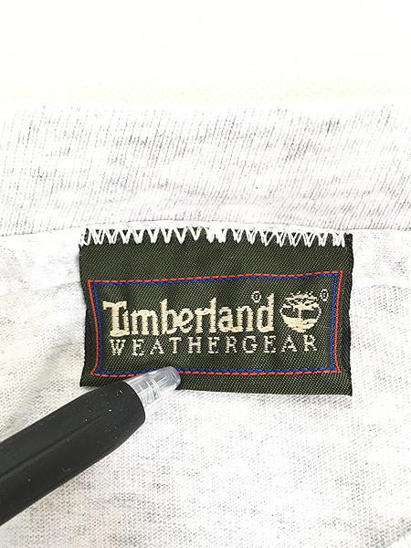 [5] 古着 90s Timberland ブーツ 足跡 フォト メッセージ Tシャツ XL位 ブランド 古着