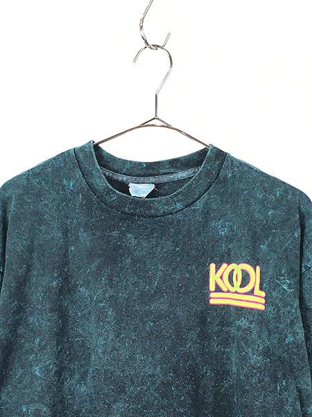[2] 古着 90s KOOL タバコ ネオン ロゴ ブリーチ Tシャツ XL位 古着