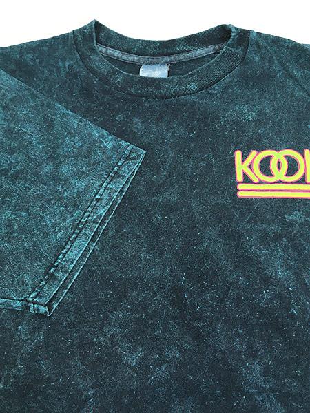 [4] 古着 90s KOOL タバコ ネオン ロゴ ブリーチ Tシャツ XL位 古着