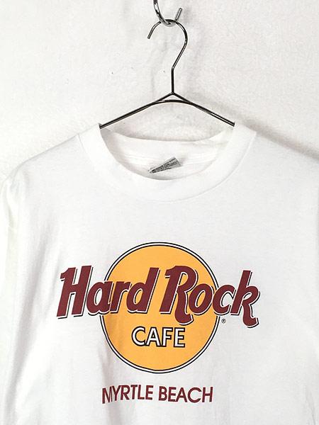 [2] 古着 90s USA製 Hard Rock Cafe 「Myrtle Beach」 BIGロゴ ハードロック Tシャツ M 古着