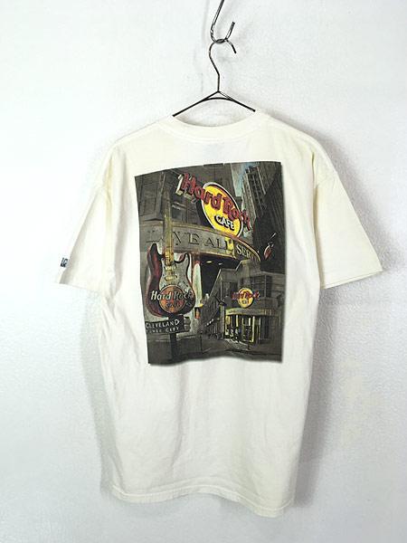 [3] 古着 90s USA製 Hard Rock Cafe 「CLEVELAND」 ギター ハードロック Tシャツ L 古着