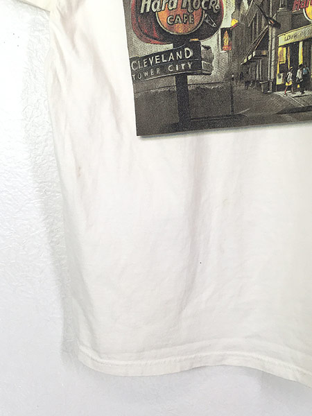 [5] 古着 90s USA製 Hard Rock Cafe 「CLEVELAND」 ギター ハードロック Tシャツ L 古着