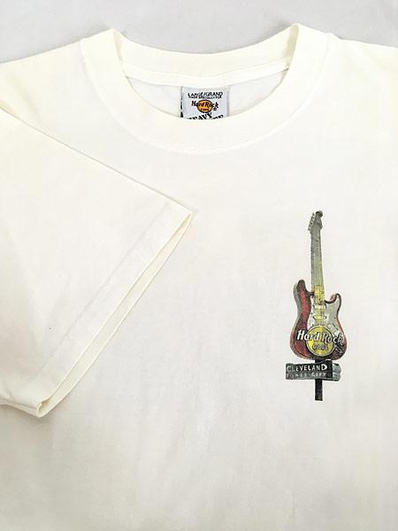 [6] 古着 90s USA製 Hard Rock Cafe 「CLEVELAND」 ギター ハードロック Tシャツ L 古着
