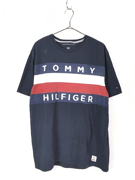 [1] 古着 TOMMY HILFIGER トミー 3D ロゴ トリコロール ボーダー Tシャツ XL 古着