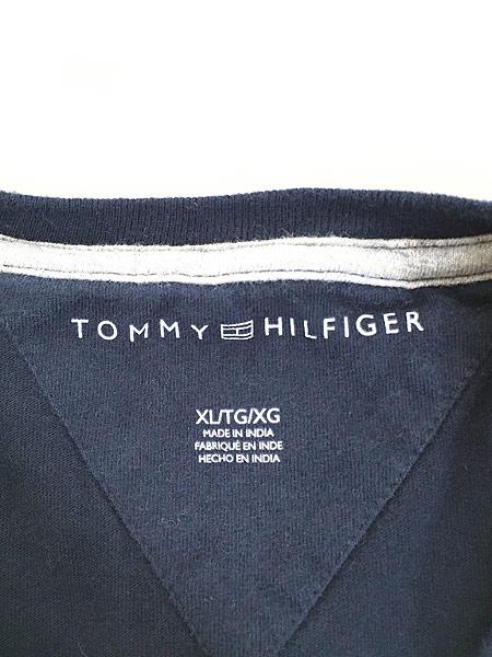[5] 古着 TOMMY HILFIGER トミー 3D ロゴ トリコロール ボーダー Tシャツ XL 古着