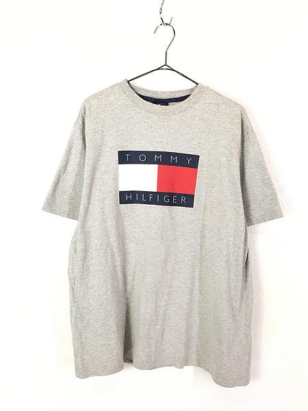 [1] 古着 90s TOMMY HILFIGER BIG 異素材 フラッグ プリント Tシャツ グレー L 古着