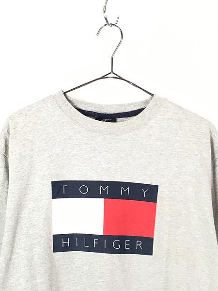 [2] 古着 90s TOMMY HILFIGER BIG 異素材 フラッグ プリント Tシャツ グレー L 古着