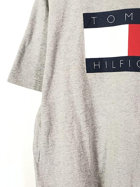 [3] 古着 90s TOMMY HILFIGER BIG 異素材 フラッグ プリント Tシャツ グレー L 古着