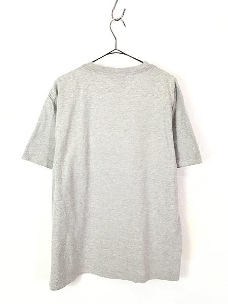 [4] 古着 90s TOMMY HILFIGER BIG 異素材 フラッグ プリント Tシャツ グレー L 古着