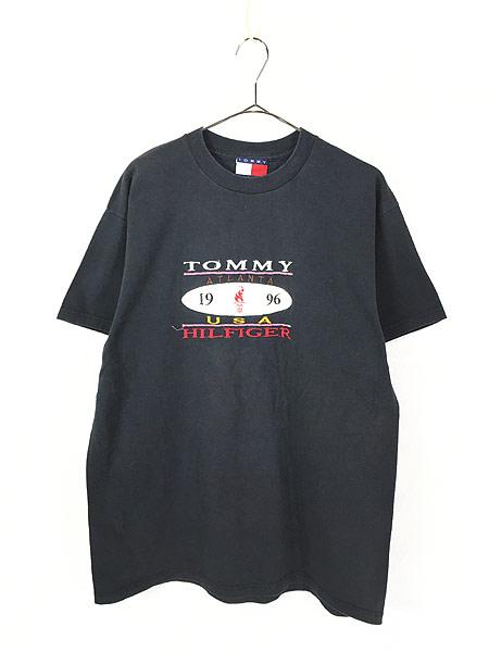 [1] 古着 90s USA製 TOMMY HILFIGER 「1996 Atlanta」 フェイクレザー パッチ Tシャツ L 古着