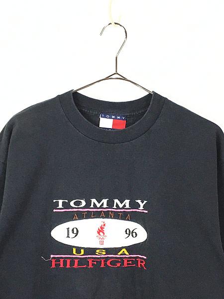 [2] 古着 90s USA製 TOMMY HILFIGER 「1996 Atlanta」 フェイクレザー パッチ Tシャツ L 古着