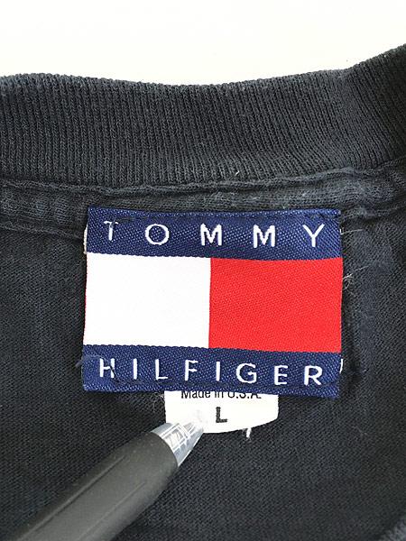 [5] 古着 90s USA製 TOMMY HILFIGER 「1996 Atlanta」 フェイクレザー パッチ Tシャツ L 古着