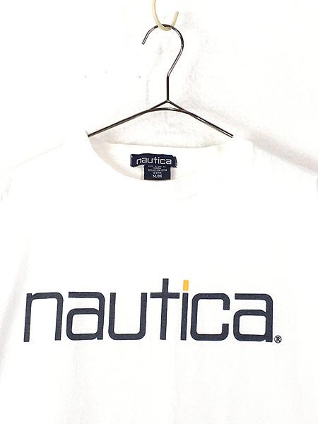 [2] 古着 90s Canada製 NAUTICA ノーティカ BIG ロゴ Tシャツ M 古着