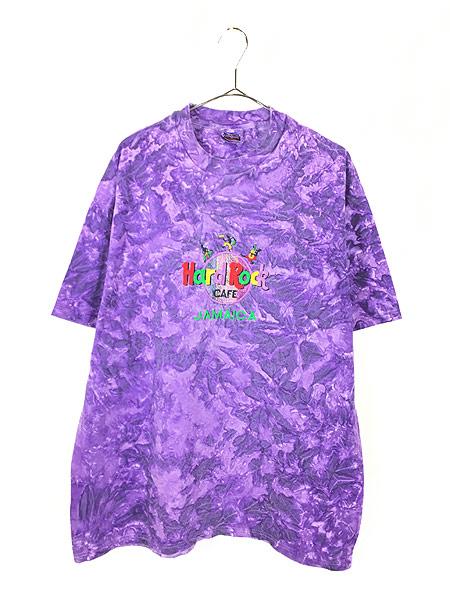 [1] 古着 90s Hard Rock Cafe 「JAMAICA」 BIGロゴ ハードロック タイダイ Tシャツ XL 古着