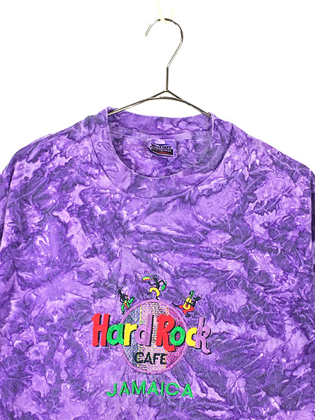 [2] 古着 90s Hard Rock Cafe 「JAMAICA」 BIGロゴ ハードロック タイダイ Tシャツ XL 古着