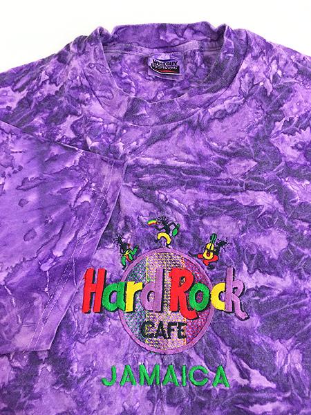 [4] 古着 90s Hard Rock Cafe 「JAMAICA」 BIGロゴ ハードロック タイダイ Tシャツ XL 古着