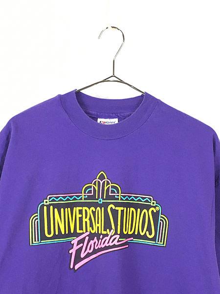 [2] 古着 80s USA製 UNIVERSAL STUDIOS ネオン 発泡 プリント Tシャツ XL 古着