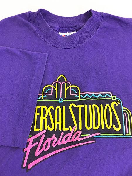 [4] 古着 80s USA製 UNIVERSAL STUDIOS ネオン 発泡 プリント Tシャツ XL 古着