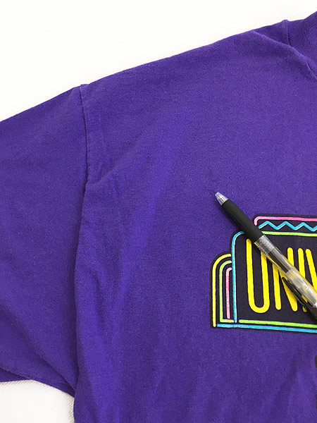 [5] 古着 80s USA製 UNIVERSAL STUDIOS ネオン 発泡 プリント Tシャツ XL 古着