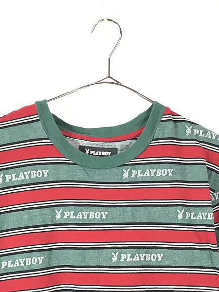 [2] 古着 PLAY BOY by PACSUN ロゴ 総柄 マルチボーダー Tシャツ M位 古着