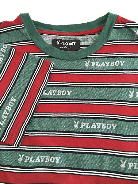 [4] 古着 PLAY BOY by PACSUN ロゴ 総柄 マルチボーダー Tシャツ M位 古着