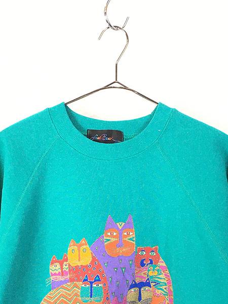[2] 古着 90s USA製 Laurel Burch 「Laurel Burch Cats」 ネコ アート スウェット XL 古着