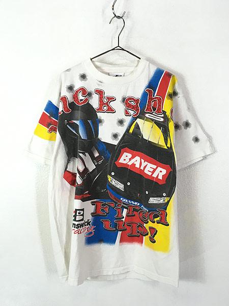 [1] 古着 90s 「buck shot Fired Up」 BIG 両面 プリント レーシング Tシャツ L 古着