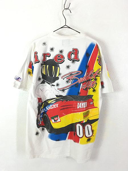 [3] 古着 90s 「buck shot Fired Up」 BIG 両面 プリント レーシング Tシャツ L 古着