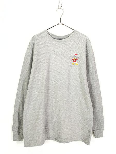 [1] 古着 90s USA製 Disney DONALD ドナルド ダック ワンポイント ロングスリーブ Tシャツ ロンT XL 古着