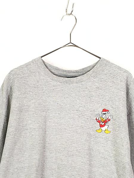 [2] 古着 90s USA製 Disney DONALD ドナルド ダック ワンポイント ロングスリーブ Tシャツ ロンT XL 古着
