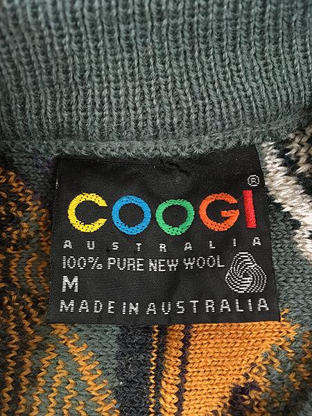 [5] 古着 Australia製 COOGI 3D ランダム カラフル ストライプ ウール ニット セーター M 古着