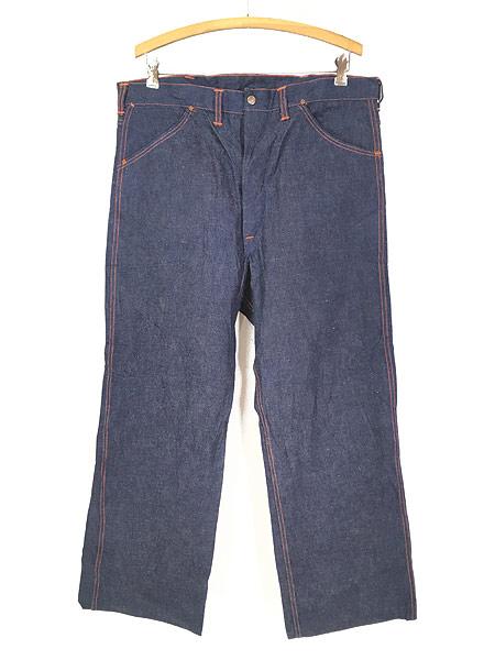 [1] 「Deadstock」 古着 50s 黒ラッカー 濃紺 デニム ワーク ペインター パンツ 使用感なし!! W35 古着
