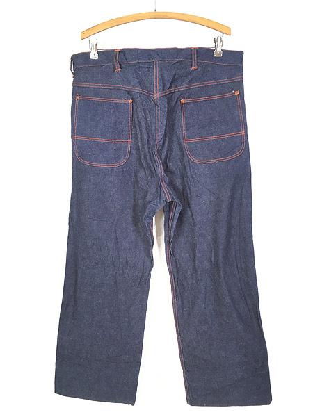 [3] 「Deadstock」 古着 50s 黒ラッカー 濃紺 デニム ワーク ペインター パンツ 使用感なし!! W35 古着