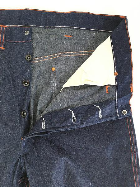 [6] 「Deadstock」 古着 50s 黒ラッカー 濃紺 デニム ワーク ペインター パンツ 使用感なし!! W35 古着