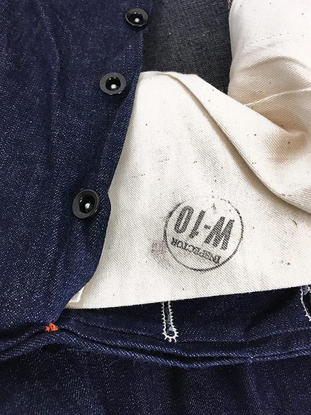 [7] 「Deadstock」 古着 50s 黒ラッカー 濃紺 デニム ワーク ペインター パンツ 使用感なし!! W35 古着