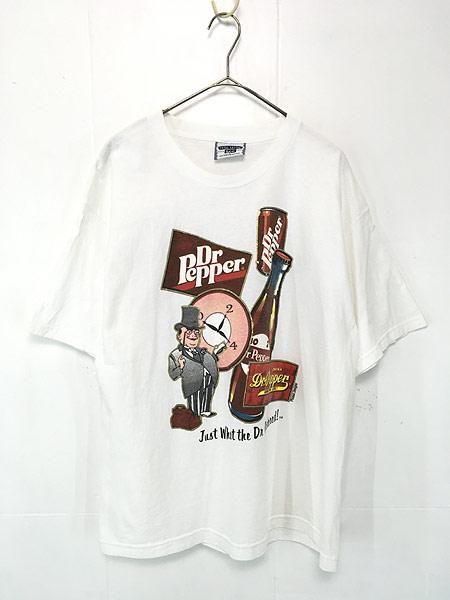 [1] 古着 90s USA製 Dr.Pepper ドクターペッパー ドリンク 炭酸 クラシック プリント Tシャツ L 古着