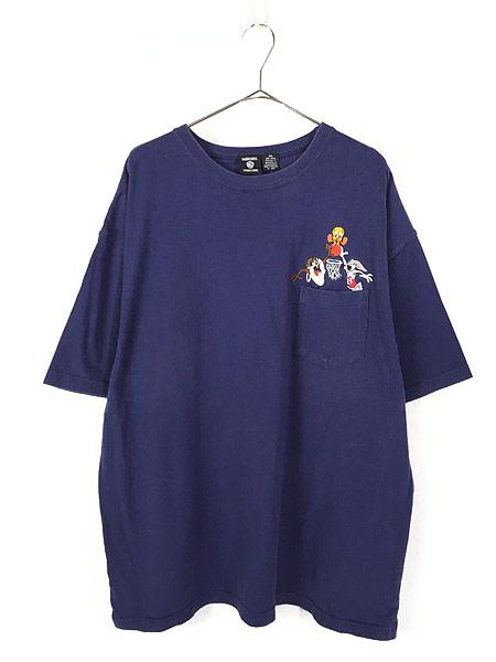 [1] 古着 90s LOONEY TUNES タズ トゥイーティー バッグスバニー キャラクター ポケット Tシャツ ポケT XXL 古着
