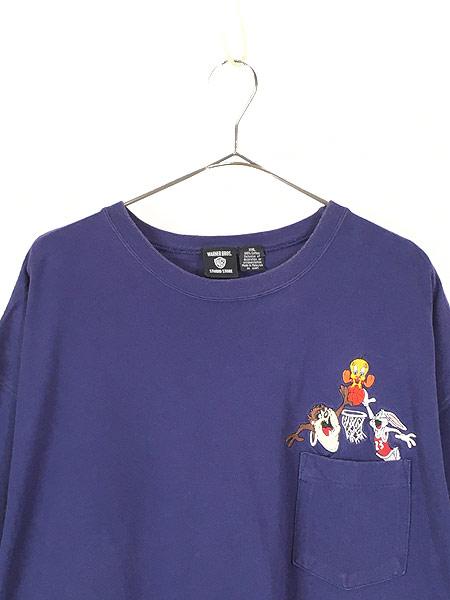 [2] 古着 90s LOONEY TUNES タズ トゥイーティー バッグスバニー キャラクター ポケット Tシャツ ポケT XXL 古着