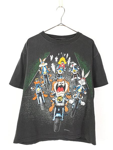 [1] 古着 90s LOONEY TUNES キャラクター 大集合 バイク ツーリング 両面 Tシャツ L位 古着