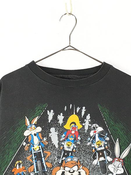 [2] 古着 90s LOONEY TUNES キャラクター 大集合 バイク ツーリング 両面 Tシャツ L位 古着