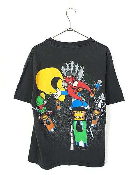 [3] 古着 90s LOONEY TUNES キャラクター 大集合 バイク ツーリング 両面 Tシャツ L位 古着