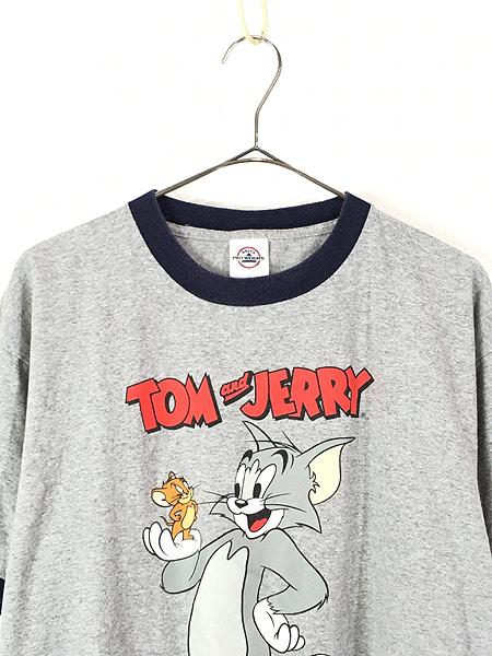 [2] 古着 00s TOM&JERRY トムとジェリー キャラクター リンガー Tシャツ L  古着